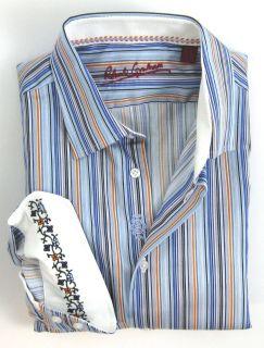 New ROBERT GRAHAM Blue Orange Stripe Cotton Dress Shirt 15.5 39 M NWT
