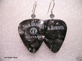Jack Daniels Black Pearloid / Guitar Pick Earrings
