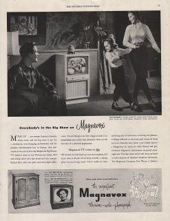 1951 VINTAGE MAGNAVOX TELEVISION RADIO PHONOGRAPH BIG SHOW PRINT AD
