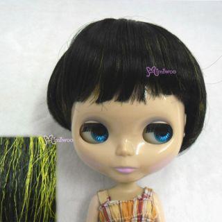 12 Blythe Fashion Doll Short Bob Wig Black with Green Highlight