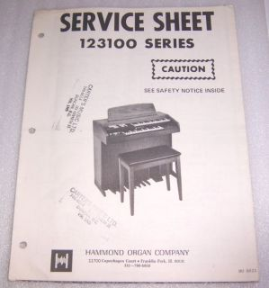 ORIGINAL HAMMOND 123100 ORGAN SERVICE MANUAL