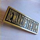 Beware of Dog custom carved routed wood 3D sign black gold