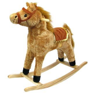 HAPPY TRAILS™ Horse Plush Rocking Horse Wooden Rocker