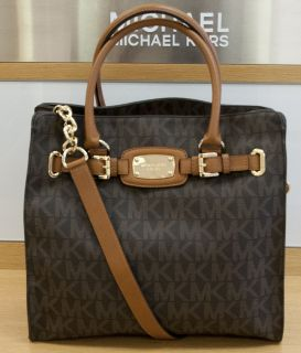NEW MICHAEL KORS BROWN MONOGRAM LUGGAGE LEATHER LG N/S HAMILTON TOTE
