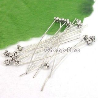 50pcs Tibetan silver Color 3D flowers Hat Head Pins Findings 50x5mm