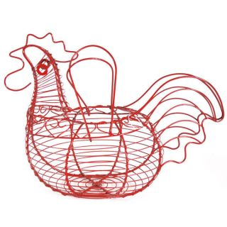 Chic Red Chicken Shaped Wire Egg Holder Basket Chicken Egg Storage