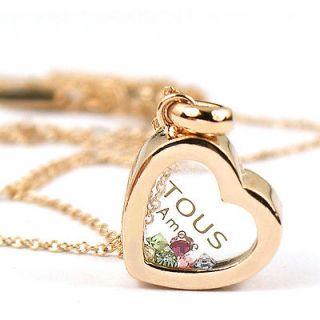 rose Gold Swarovski Cysta heart love Pendant Necklace a1191