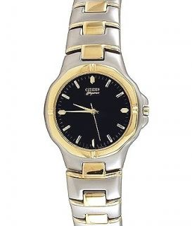 CITIZEN MENS $275 TWO TONE SILVER, GOLD, BLUE DIAL, ELEGANCE WATCH