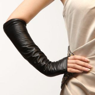 womens fingerless leather gloves in Clothing,