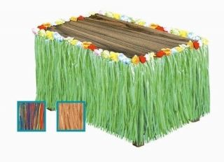 LUAU TIKI TROPICAL BEACH FLOWER GRASS TABLE SKIRTS GREEN NATURAL