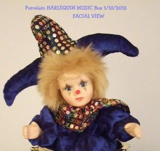 Vintage 70s Porcelain HARLEQUIN Drum Music Box Plays Frere Jacques
