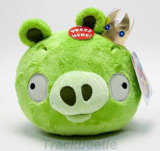 GREEN PIG CROWN Angry Birds w/ sound plush toy w/ tags collectors