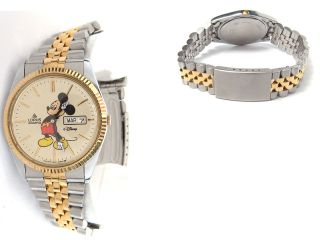 BY SEIKO MICKEY MOUSE WITH DAY DATE TWO TONE WATCH FOR MEN DISNEY