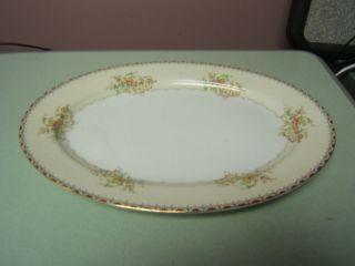 Japan Meito China Large Oval Serving Platter Gold Rim Floral