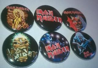 6x Iron Maiden Tour Badges Buttons shirt pins pinbacks NEW
