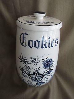 Vintage Crockery Cookie Jar, Blue & White, Flower Designs
