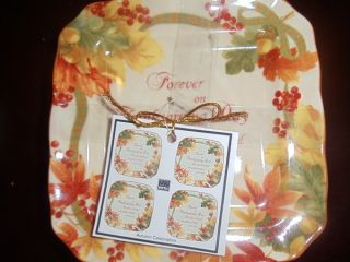 222 Fifth Autumn Celebration Dessert Snack Plates Set 8 Thanksgiving