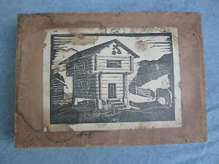 Antique Wood Log Cabin House Fort Kit With Original Wood Box Puzzle