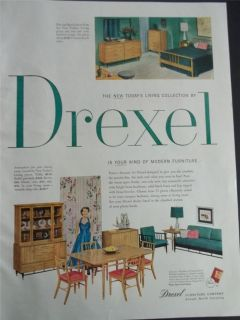1954 Drexel Modern Furniture Home Decor Photo Vintage Print Ad