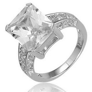 Carats Emerald Cut CZ Cubic Zirconia 925 Sterling Silver Bridal