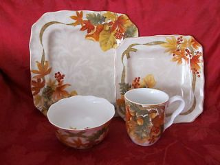 222 FIFTH AUTUMN CELEBRATION HARVEST THANKSGIVING 12PC DINNERWARE SET
