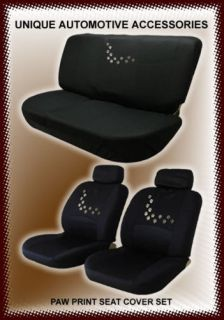 3PC PUPPY PAW PRINTS LOW BACK SEAT COVERS & BENCH COVER