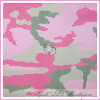 FQ Cotton Fabric Pink Green Sm Army Wife Wives Military Girl Camo