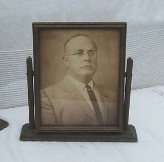 antique vtg wood Table top Swivel Dresser Picture Frame / Mirror
