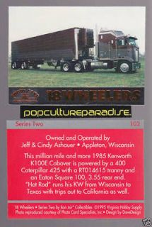 1985 KENWORTH K100E CABOVER 18 WHEELER HEAVY TRUCK CARD