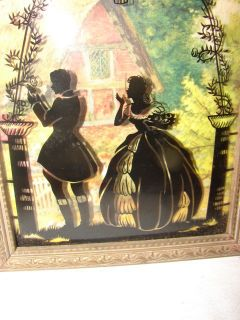 Antique Reverse Painting On Glass Picture ~ Man and Woman Bubble Glass