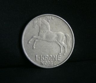 1964 Norway 1 Krone Copper Nickel World Coin KM409 Horse Animal Olav V