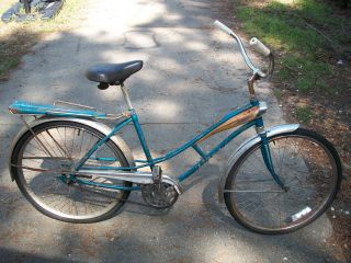 Antique 1960 JC Higgins  Flightliner bicycle bike chrome and blue