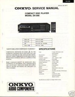 Original Service Manual Onkyo DX 200 CD Player