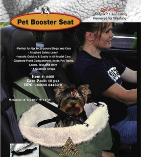 Pet Booster Seat Dog Seat For Car Auto With Leash & Faux Sheepskin
