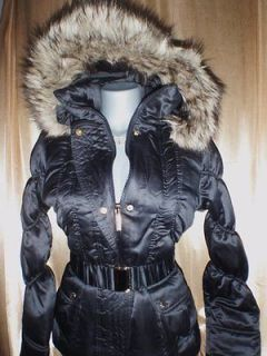BABY PHAT~Women Plus Size 1X $120 Black Belted Hoody Fur Coat Puffer