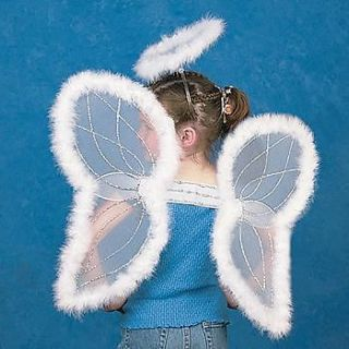 19 White Marabou Feather Angel Wings And Halo Costume