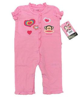 PAUL FRANK LUXE Baby Girls Light Pink Romper One piece Suit NWT