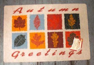 AUTUMN GREETINGS WELCOME MAT ~ FALL LEAVES DOOR MAT ~ 18 x 24 ~ NEW