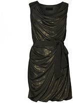 BNWOT ALL SAINTS DITRA FOIL GOLD MOTTLED DRAPED JERSEY DRESS SIZE 6