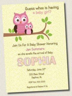 DAMASK PINK OWL GIRL BABY SHOWER INVITATIONS BIRTHDAY PARTY INVITE