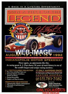 92 A J FOYT INDY 500 AUTO RACING COLLECTION RACE CAR AUCTION POSTER
