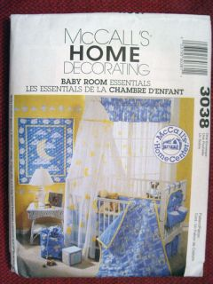 McCALLS HOME DECORATING, BABY ROOM ESSENTIALS PATTERN 3038 OOP