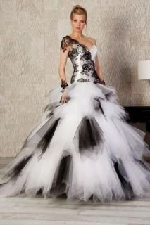 White/Black Masquerade Ball Gown Wedding Dress Bride Prom Gowns Size