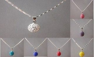 Special Price Crystal 10mm Disco Ball Pendant Necklace+Gift box