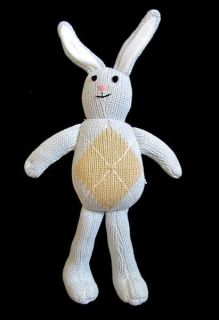 Pottery Barn Kids Plush Bunny Rabbit Blue w/ Argyle Toy