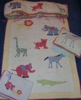Pottery Barn Kids Jungle Safari Animal Crib Bumper/Quilt/Blanket