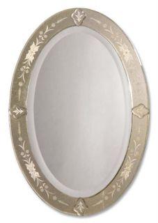 Ornate Victorian Leaf Metal Frame Bathroom Entry Mirror