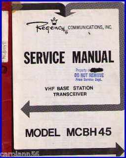 REGENCY Manual #300 4245 700 VHF Base Station MCBH45
