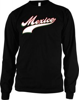 Script Font Mens Thermal Shirt, Mexican Country Pride Baseball Style