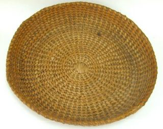 Large Shallow Vintage 15 in Round Pine Needle Basket Tray